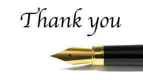 Thank you. Card with golden fountain pen isolated on white stock photography