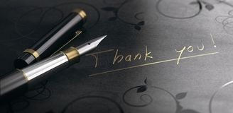 Thank You Card, Gratitude Message Written in Golden Letters stock images