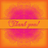 Thank you card. Gratitude text on bright background with shiny t Royalty Free Stock Images