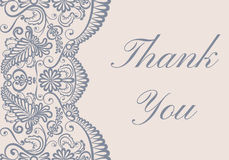Thank you card. With gray lace border on beige background Stock Images