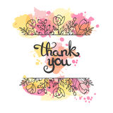 Thank you card. Hand drawn lettering design. Greeting card with flowers. Line art style.  Stock Photos