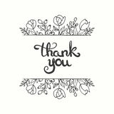 Thank you card. Hand drawn lettering design. Greeting card with flowers. Line art style. Vector illustration. Stock Image