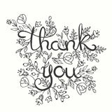 Thank you card. Hand drawn lettering design. Greeting card with flowers. Line art style. Vector illustration. Thank you card. Hand drawn lettering design vector illustration