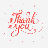 Thank you card. Hand drawn lettering. Ink illustration. Vector illustration. Ink hand lettering. Red brush pen lettering.Handwritten lettering with red ink for Royalty Free Stock Photography