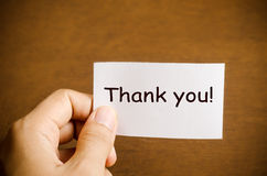 Thank you card. Hand holding thank you card Stock Photography