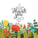 Thank you card with handdrawn lettering. And cute flowers isolated on white background. Vector calligraphic card Stock Photo