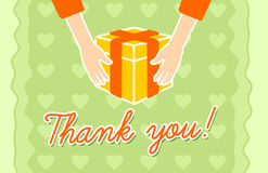 Thank you card. With a hands giving a gift Royalty Free Stock Image