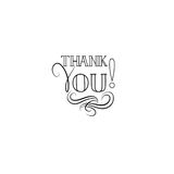 Thank you card, handwritten lettering, calligraphic line vignett. Thank you greeting card with handwritten lettering and swirl floral line calligraphic vignette Stock Images