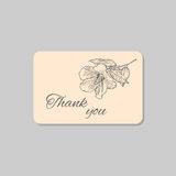 Thank you card with hawaii hibiscus flower. Vintage grunge marriage design template, floral artwork. Vector illustration Stock Image