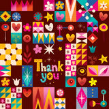 Thank you card. With hearts, stars and flowers retro abstract art Royalty Free Stock Image
