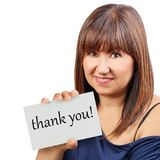 Thank you card held by brunette woman isolated royalty free stock photo