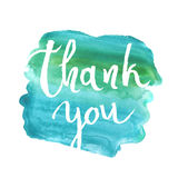 Thank you card, ink hand lettering. Abstract marker shape. Royalty Free Stock Images