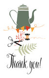 Thank you card with kettle, scissors and fern Royalty Free Stock Image