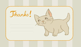 Thank you card with kitten. A thank you card with tiny happy kitten Stock Photo