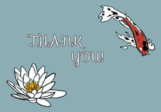 Thank you card with koi carp and water lily Royalty Free Stock Photos