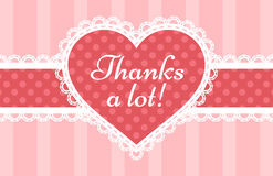 Thank You card. With a laced pink heart Stock Photo