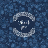 Thank you card with love. Vector thank you note with flowerl and heart Royalty Free Stock Photo