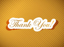 Thank you card over a golden Stock Image