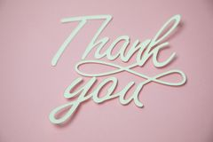 Thank you card. Paper cut out work stock photography