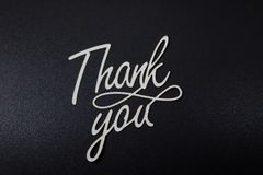 Thank you card. Paper cut out work stock images