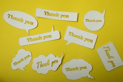 Thank you card. Paper cut out work stock photo
