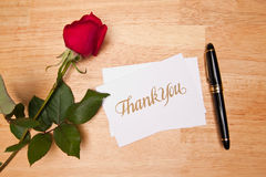 Thank You Card, Pen and Red Rose Royalty Free Stock Images