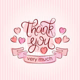 Thank you card in pink colors. Vintage background Stock Photo