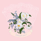Thank you card with pink daisies. Background with floral bouquet.Bunch of daisies vector illustration