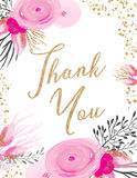 Thank You. Card with pink flowers and gold glittery texture Stock Image