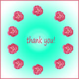 Thank you card. With pink roses Royalty Free Stock Images