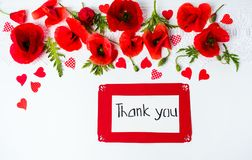 Thank you card with poppy flowers top view. Thank you card with poppy flowers on white background royalty free stock photography