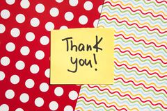 Thank you card with vibrant colors, dots and lines on background, thankfulness concept