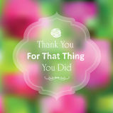Thank you card rose pink blurry photo as a backgro Royalty Free Stock Photos