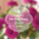 Thank you card rose pink blurry photo as a backgro Royalty Free Stock Image