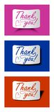 Thank you card set in different colors, calligraphy inscription on bended paper with different shadow Stock Image