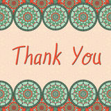 Thank you card. With silhouettes of oriental mandalas. Islam, Arabic, Asian motifs Royalty Free Stock Photography