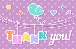 Thank You Card. With a singing bird on pink background Royalty Free Stock Image