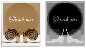 Thank you card snail. Illustration card snail with Thank you Stock Photo