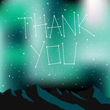 Thank you card, stars. Thank you card, letters written in stars, on Night time starry sky. Universe, galaxy vector illustration vector illustration