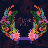 Thank you card-Stylish floral background with ribbon Stock Images