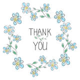 Thank you card. Stylish floral frame with text Royalty Free Stock Photos