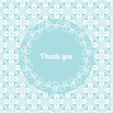 Thank you card template with floral frame. Thank you card template decorated cute pattern with floral frame. Vector illustration Stock Photography