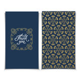 Thank You card template with pink seamless lace pattern Royalty Free Stock Photography