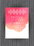 Thank you card template. Vector watercolor background. Thank you card or note template. Separate wood texture Royalty Free Stock Image