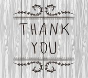 THANK YOU card templates. Big thanks. VECTOR handwritten words. Black lines on textured light wooden background royalty free illustration