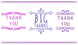 Thank you card templates. Big thanks. VECTOR handwritten words. Pink, purple and blue colors. Stock Photos