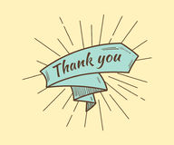 Thank you card, with text and ribbon. Retro style royalty free illustration