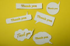 Thank you card. Paper cut out work royalty free stock photo