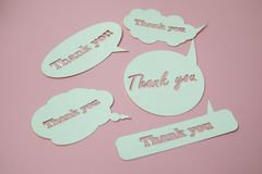 Thank you card. Paper cut out work royalty free stock photography