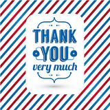 Thank you card on tricolor grunge background. Royalty Free Stock Images